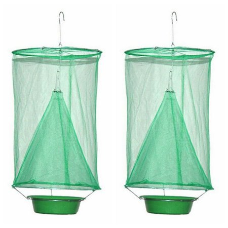2 Packs Ranch Fly Trap Flay Catcher -New Fly Fishing Apparatus for Indoor or Outdoor Family Farms, Park, Restaurants (bait placement basin not