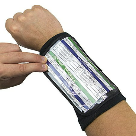 "Crown Sporting Goods Football Quarterback Triple Insert Playbook Wristband, Multi-Sport Play Holder (6.5"" Large)"