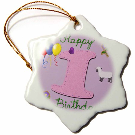 3dRose Happy first birthday. Digital scrapbook design for girls with a pink felt looking number one, Snowflake Ornament, Porcelain, 3-inch