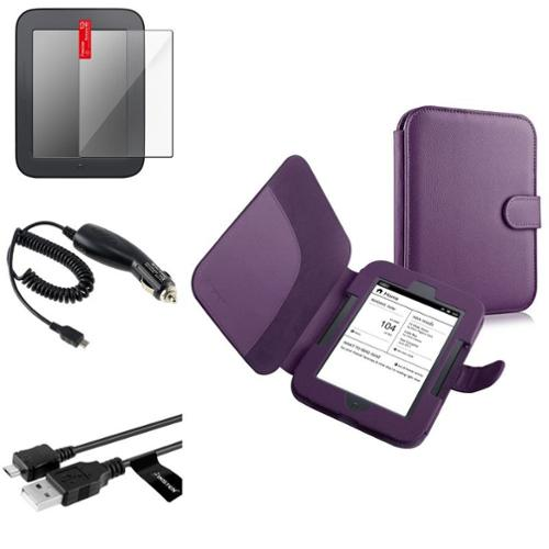 Insten Purple Leather Case+SPT+Data Cable+Car Charger For Nook Simple Touch/Glowlight