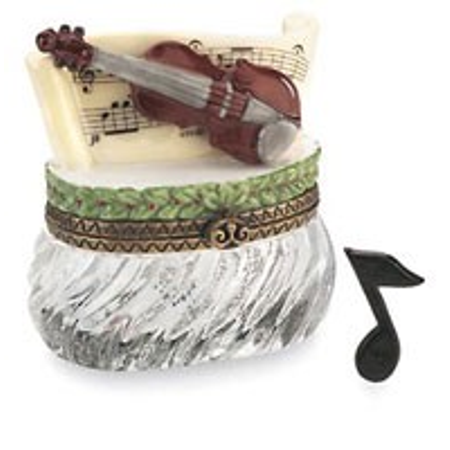 Collectible Porcelain Music Box - Midwest Violin With Music Note PHB Porcelain Hinged Box