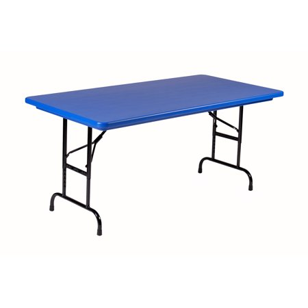 Correll BLUE Commercial Duty, Adjustable Height Plastic Top Folding Table. Height Adjusts from 22