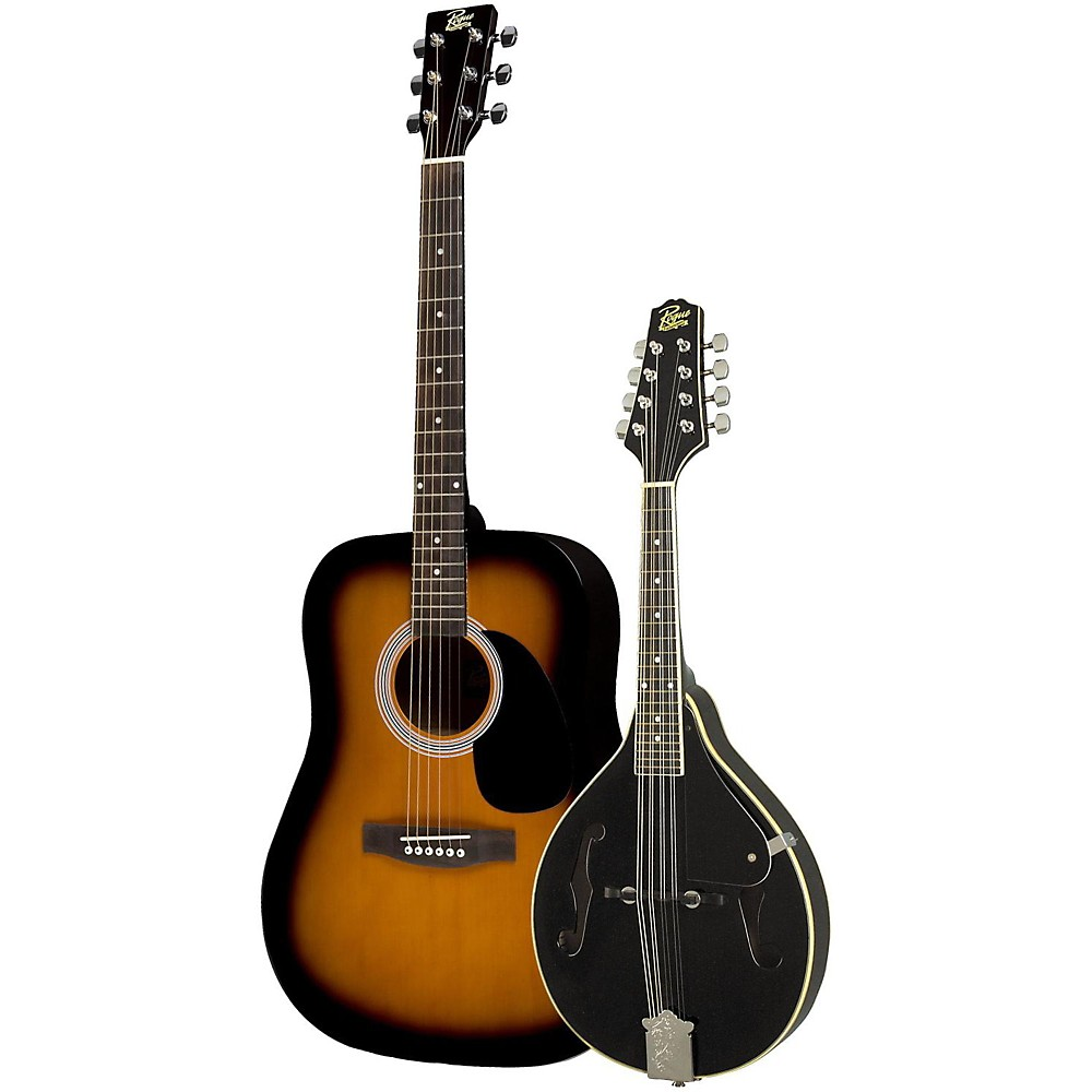 Rogue Acoustic Guitar and Mandolin Pack Sunburst Black by Rogue