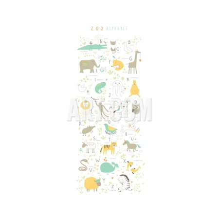 Zoo Alphabet with Funny Animals and Letters Print Wall Art By Lera Efremova
