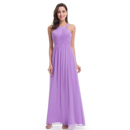 Ever-Pretty Halter Bridesmaid Dress for Women Chiffon Evening Dresses 07058