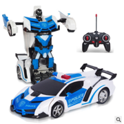 1:18 2 in 1 Transforming Robot RC Remote Control Car Toy Play Vehicles w/ Sounds & LED Lights Gesture Sensing  Kids Gifts Home Family Fun