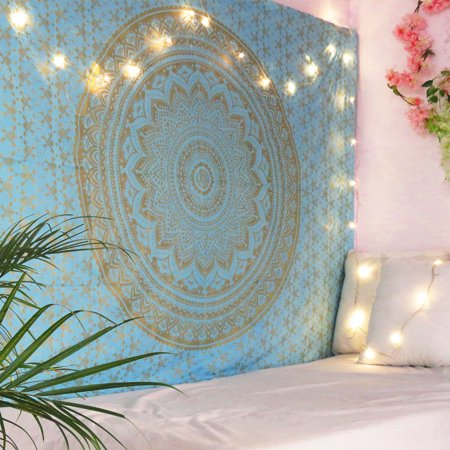 Sky Blue Ombre Mandala Tapestry Twin Size Boho Dorm Room Wall Hanging Indian Beach Throw Blanket Outdoor Picnic Yoga Mat by Oussum