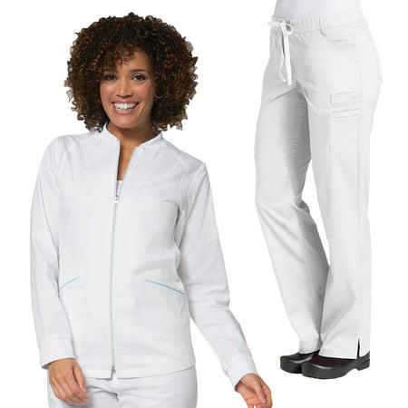 Maevn PRIMAFLEX Women's Zip Front Warm-Up Jacket Top & Inner Beauty Straight Leg Scrub Pant Set [XS - 2XL, FREE (Women's Straight Jacket)