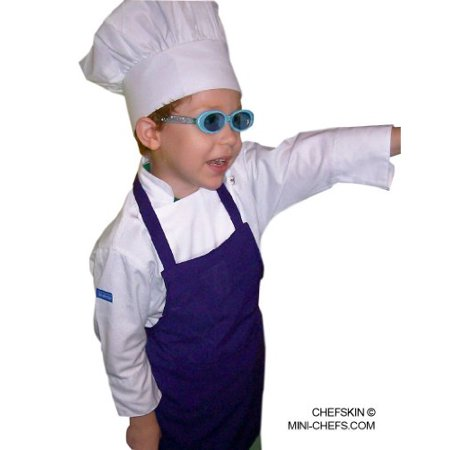 Purple Apron+ White hat Kid Children Chef Set Lite Fabric SM fits 3-8 - image 1 of 1