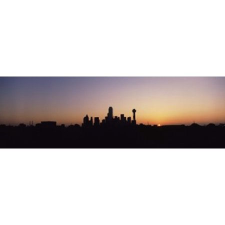 Sunrise Skyline Dallas TX USA Canvas Art - Panoramic Images (18 x