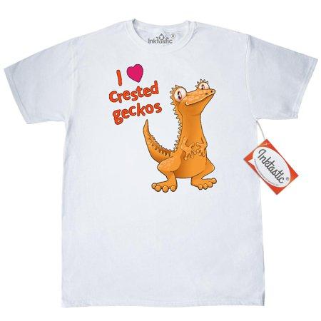 Inktastic I Love Crested Geckos T-Shirt Pets Reptiles Cute Lizard Gecko Herpatology Herpatologist Big Eyes Pet Here Heart Mens Adult Clothing Apparel Tees T-shirts