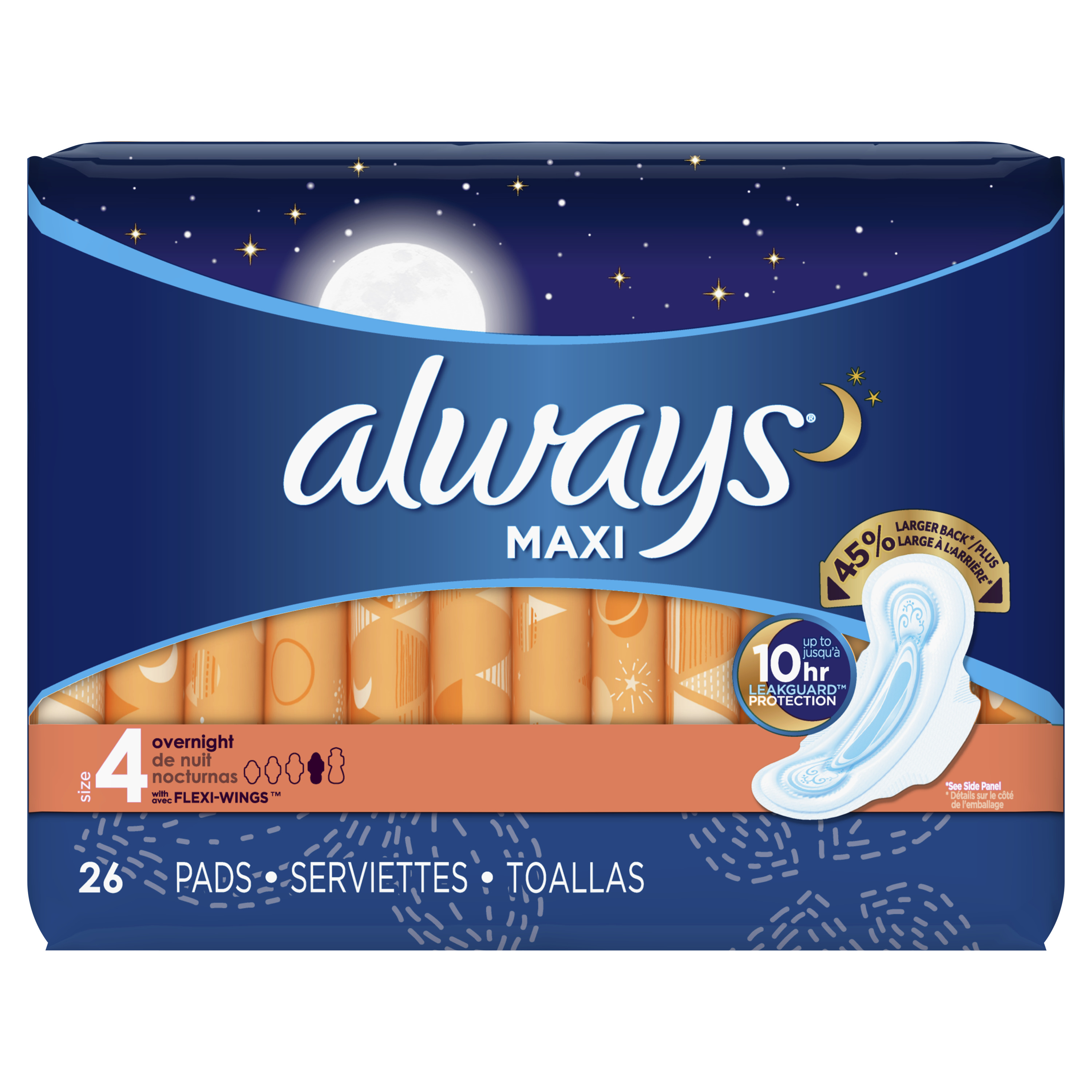 Always Maxi, Size 4, Overnight Pads With Wings, Unscented, 26 Count