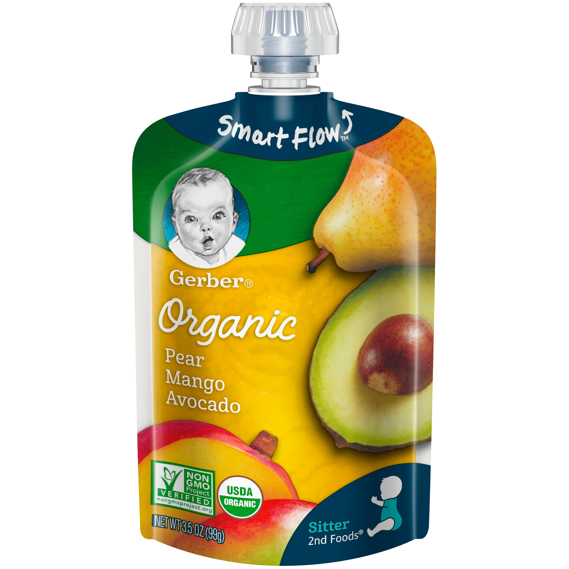 Gerber 2nd Foods Organic Baby Food, Pear Mango Avocado, 3.5 oz. Pouch (Pack of 12) by Gerber