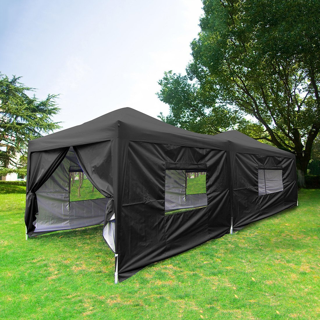 Quictent privacy 10x20 Feet Black Mesh Curtain EZ Pop Up ...