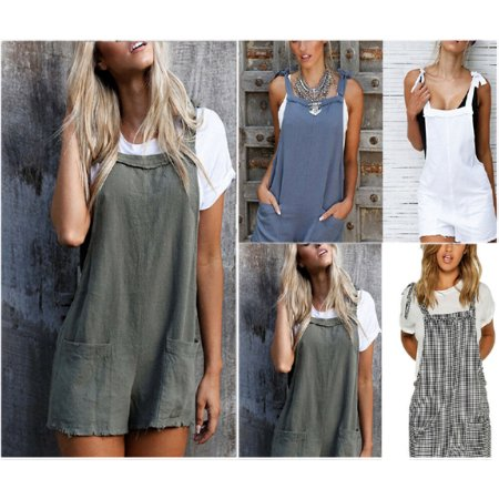 Newest Fashion Women Plaid Loose Overalls Sleeveless Straps Shorts Pockets Casual Backless Loose Short Trousers