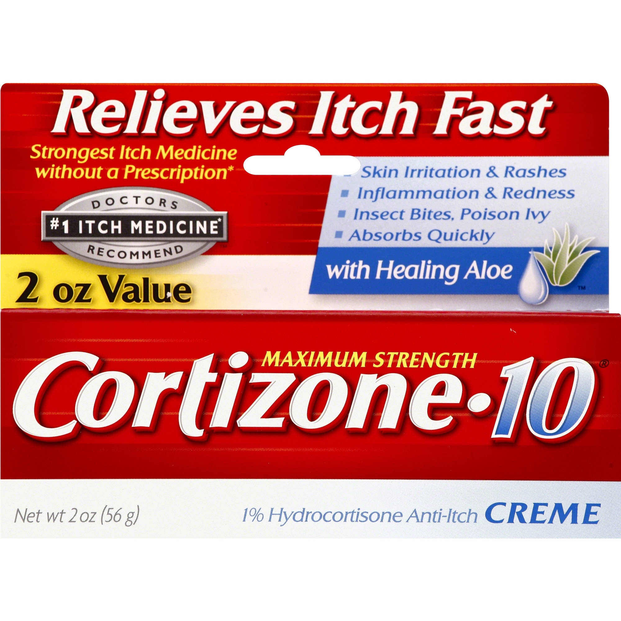Cortizone 10 Maximum Strength 1% Hydrocortisone Anti-Itch Crème, 2 oz