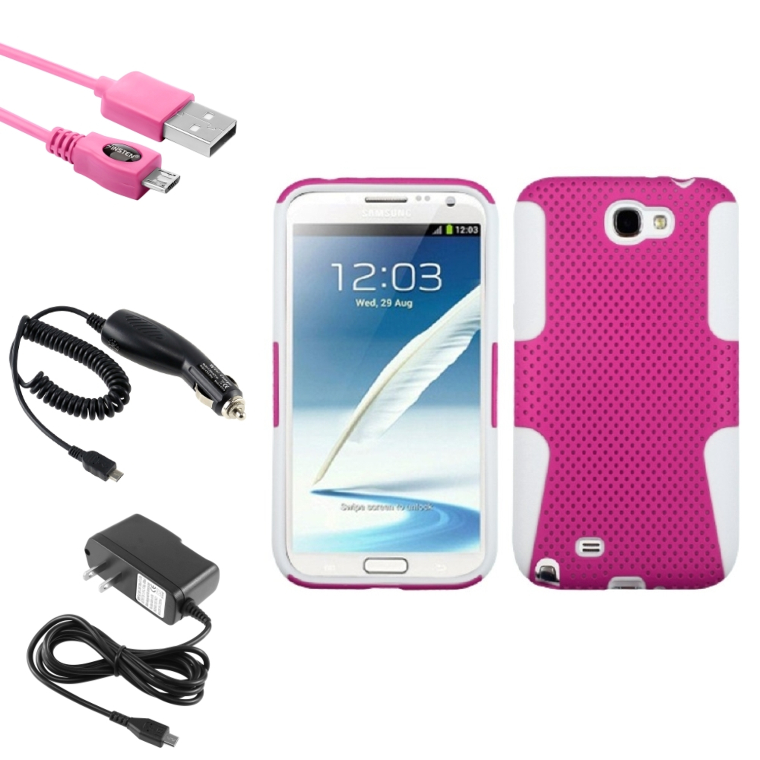 Insten White/Pink Hybrid Case DC Home Charger Cable For Samsung Galaxy Note 2 II