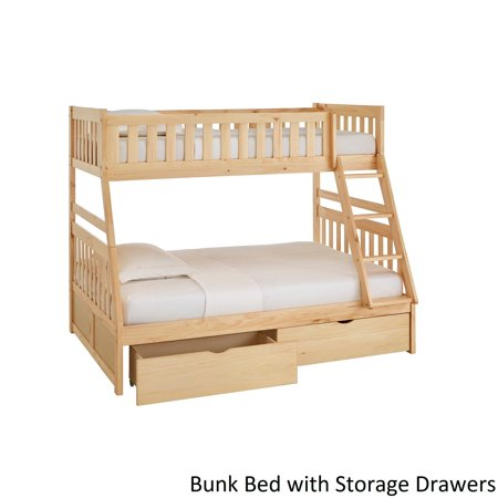 Inspire Q Junior Hunter Twin Over Full Natural Wood Bunk Bed