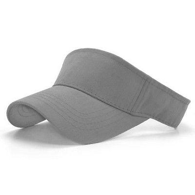 Tennis Hat - Light Gray Brushed Cotton Golf Tennis Adjustable Sun Visor Cap Caps Hat Hats