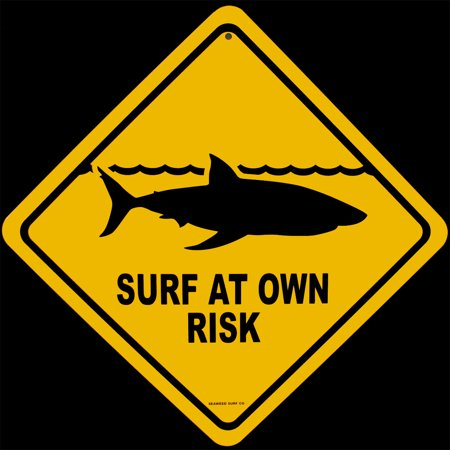 Metal Shark Warning SURF AT OWN RISK Street Sign Beach Bar/Pub/Shop Wall Decor (Surf Metal)