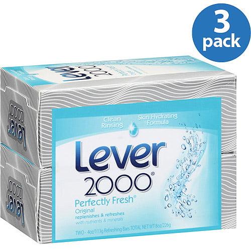 Lever 2000 Original Perfectly Fresh Deodorant Bar Soap, 2 count (Pack of 3)
