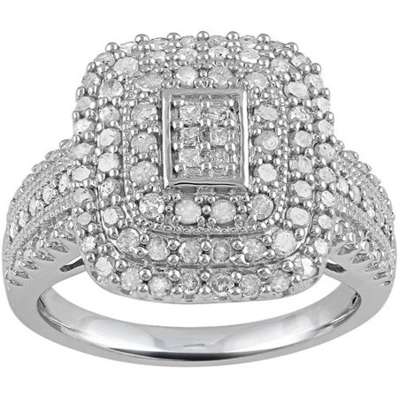 1 Carat T.W. Princess & Round Cut Diamond Ring in Sterling Silver