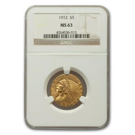 1912 $5 Indian Gold Half Eagle MS-63 NGC Indian Head Half Eagle