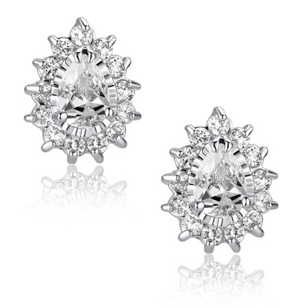 Teardrop and Round Cubic Zirconia Stud  Earrings for Women Girls White Gold - Drop Round Stud