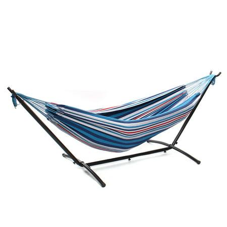 Camping Hammock With Universal Stand - 2 Person Double Hammock Chair Banana Hammock Family Hammock Patio Swing, 440lbs - image 2 de 2