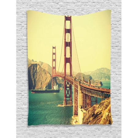 Vintage Tapestry, Old Film Featured Golden Gate Bridge Suspension Urban Path Construction Scenery, Wall Hanging for Bedroom Living Room Dorm Decor, Blue Brown, by Ambesonne