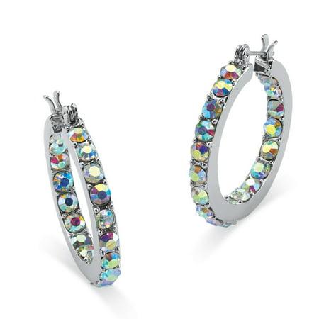 Aurora Borealis Crystal Inside-Out Hoop Earrings in Silvertone (1