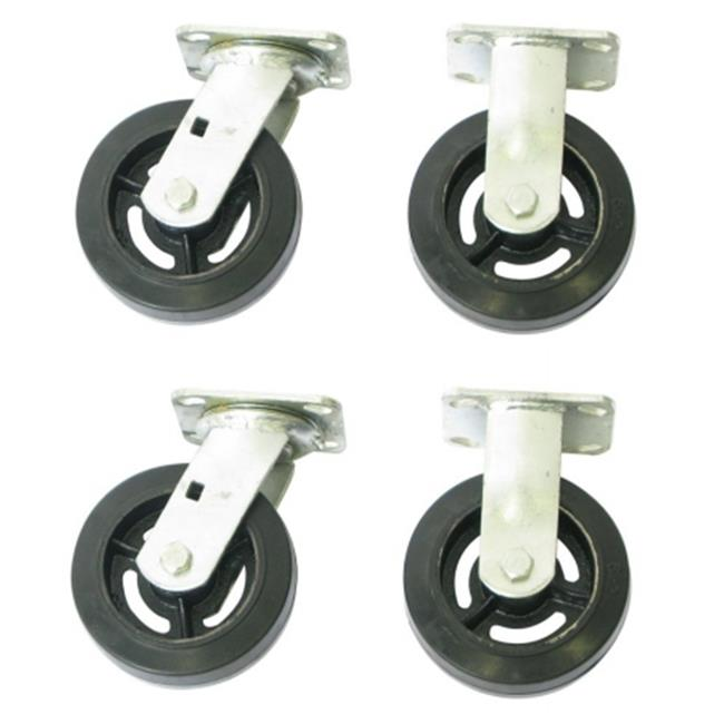 Wesco Industrial 273612 Caster Set Mrah62 - 6 x 2 Moldon Rubber