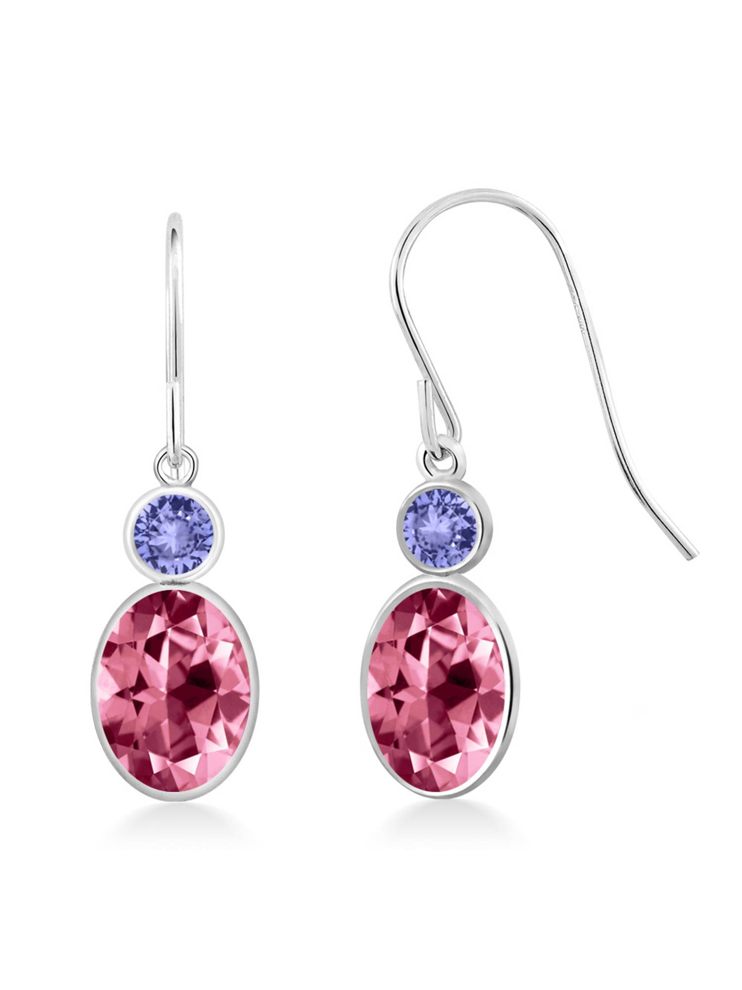 14K White Gold Earrings Tanzanite Set with Oval Pink Topaz from Swarovski by