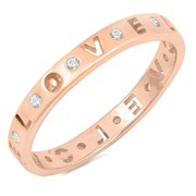 CHOOSE YOUR COLOR Gold-Tone Clear CZ Love Promise Stackable Ring Sterling Silver Band