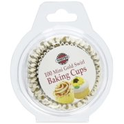 Norpro 3441 Gold Swirl Paper Mini Party Bake Cups 100 Pack Cupcake Muffin Liners