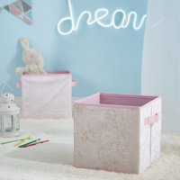 Urban Shop Crushed Velvet 2 Pack Collapsible Storage Cubes, Blush