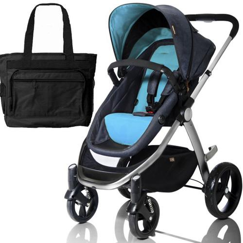 Mountain Buggy Cosmopolitan Stroller - Turquois with a Diaper Bag