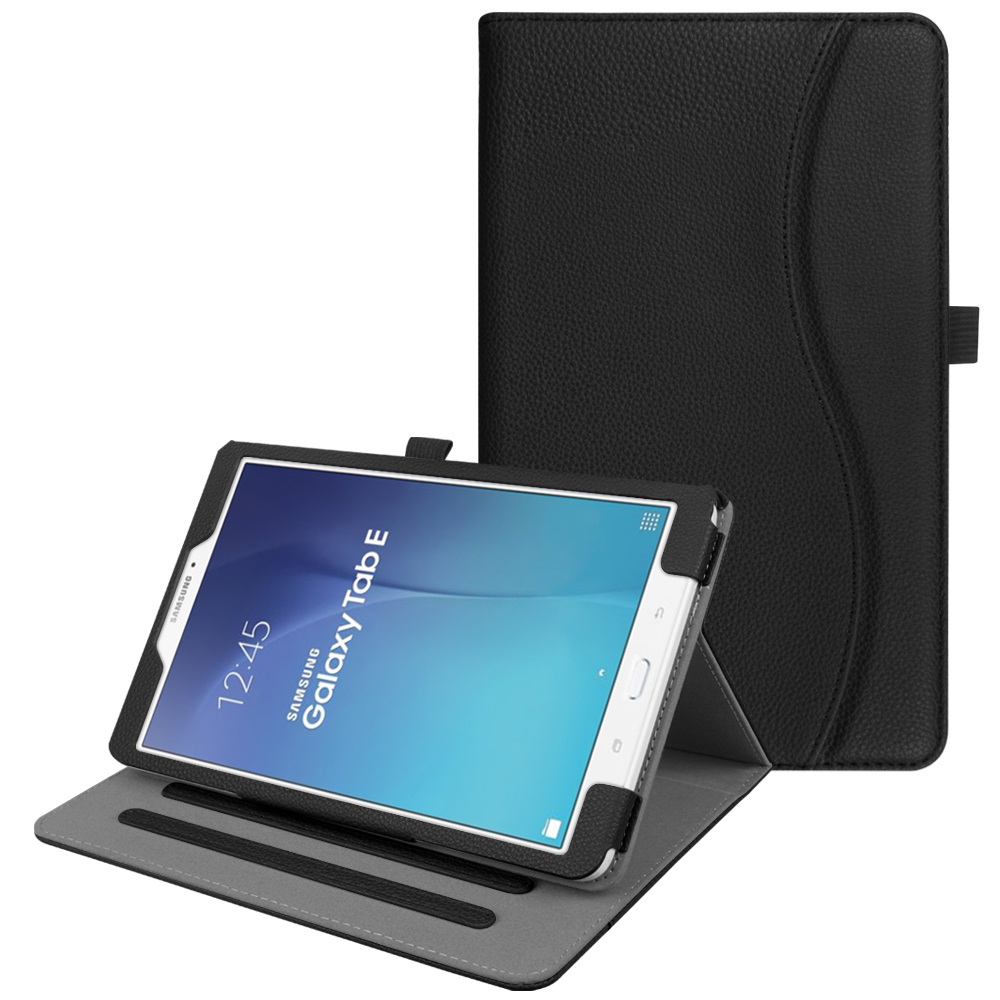 For Samsung Galaxy Tab E 9.6 Case, Fintie Multi-Angle Viewing Stand Cover with Card Pocket Auto Sleep/Wake, Black