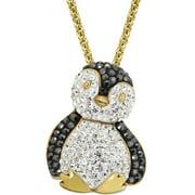 "Luminesse Swarovski Element Gold Plated over Sterling Silver Penguin Pendant, 17"""