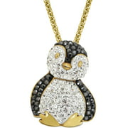 Luminesse Swarovski Element Gold Plated over Sterling Silver Penguin Pendant, 17""