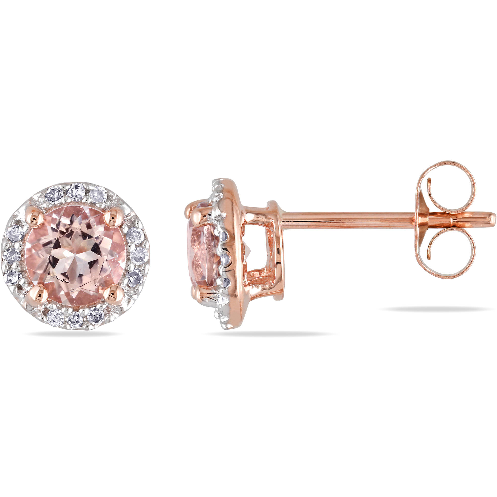 1 Carat T.G.W. Morganite and Diamond-Accent 10kt Pink Gold Halo Stud Earrings by