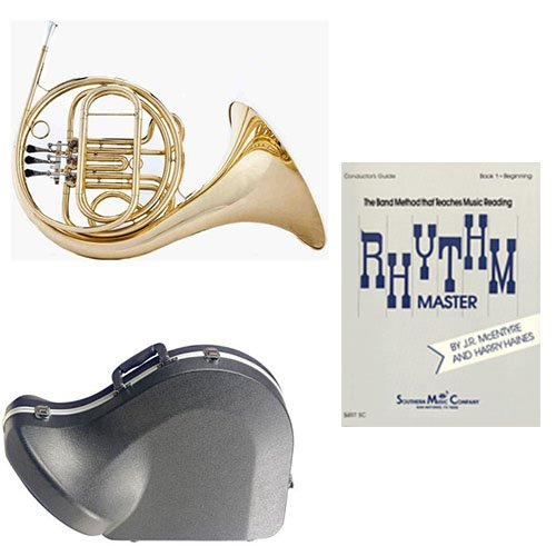 Band Directors Choice Single French Horn in F - Rhythm Master Pack; Includes Student French Horn, Case, Accessories & Rhythm Master Book