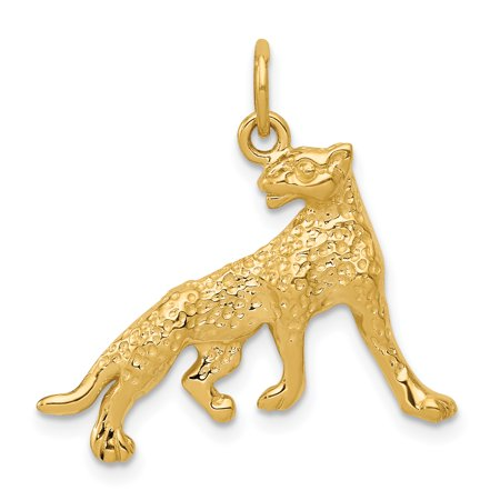 - 14k Yellow Gold Cheetah Pendant Charm Necklace Animal Wild For Women