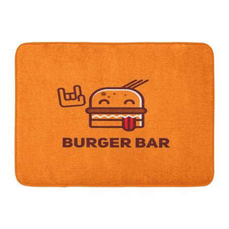 GODPOK Bistro Rock Burger Bar Food Character Lunch American Beef Bun Rug Doormat Bath Mat 23.6x15.7 inch