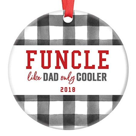 Funcle Gift Ornament Fun Uncle 2019 Christmas Tree Funny Ceramic Collectible Present Cool Family Member Relative from Niece Nephew 3