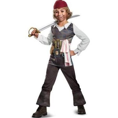 Pirate of the Caribbean Boys Captain Jack Sparrow Costume, Multi Color - Size 4-6 (Captain Jack Sparrow Wig)
