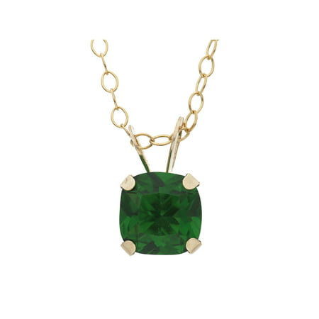 1 Carat T.G.W. Created Emerald 10kt Yellow Gold 6mm x 6mm Cushion-Cut Pendant, 18
