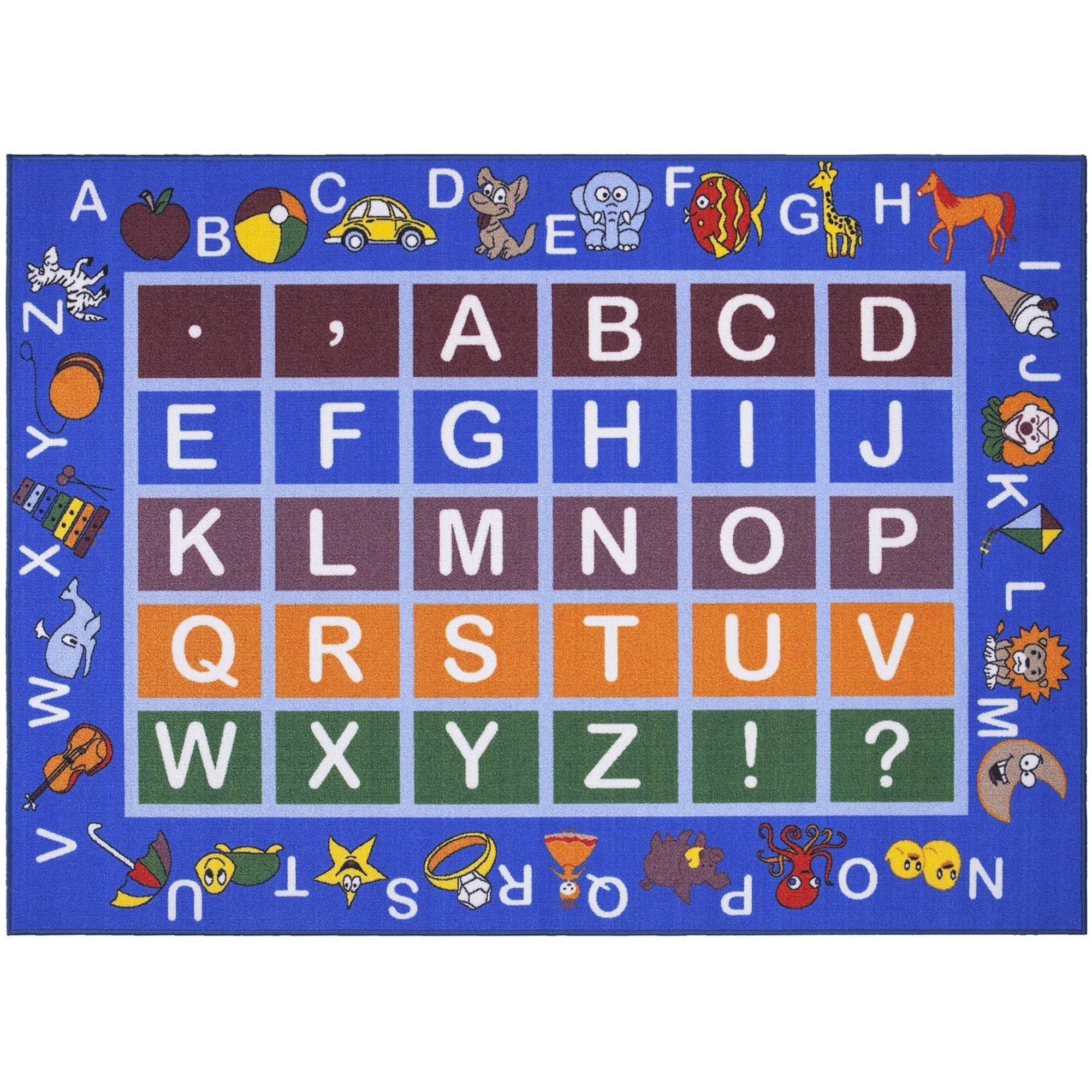 Ottomanson Jenny Light Blue Frame Educational Alphabet Non-Slip Area Rugs Kids