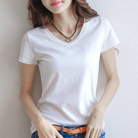 Women Summer Short Sleeve T-Shirt Casual Comfortable Cotton Ladies Shirt Tops - image 2 of 5