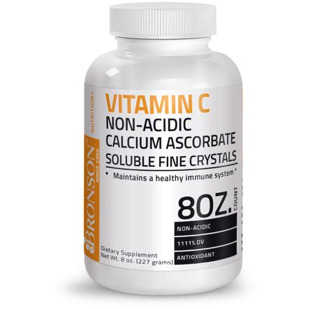 Calcium Ascorbate Buffered (Bronson Vitamin C Non-Acidic Calcium Ascorbate Soluble Fine Crystals, 8 oz)